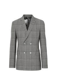 Blazer doppiopetto di lana a quadri grigio di Burberry