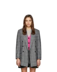 Blazer doppiopetto di lana a quadri grigio di Isabel Marant Etoile