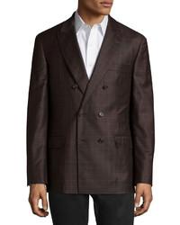 Blazer doppiopetto di lana a quadri marrone scuro