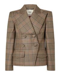 Blazer doppiopetto di lana a quadri marrone di Fendi