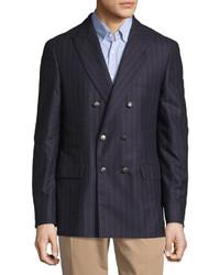 Blazer doppiopetto di lana a righe verticali blu scuro