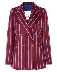 Blazer doppiopetto di lana a righe verticali bordeaux di Giuliva Heritage Collection
