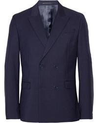 Blazer doppiopetto di lana blu scuro