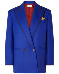 Blazer doppiopetto di lana blu di Sara Battaglia