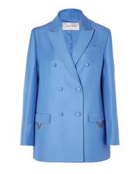 Blazer doppiopetto di lana blu di Valentino