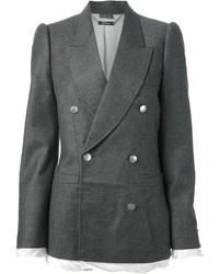 Blazer doppiopetto di lana grigio scuro di Alexander McQueen