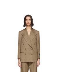 Blazer doppiopetto di lana marrone chiaro di Gucci