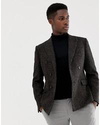 Blazer doppiopetto di lana marrone scuro di ASOS DESIGN