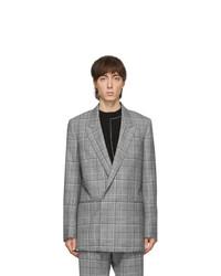 Blazer doppiopetto di lana scozzese grigio