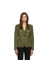 Blazer doppiopetto di lana verde oliva di Balmain