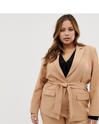 Blazer doppiopetto marrone chiaro di Fashion Union Plus