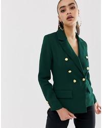 Blazer doppiopetto verde scuro di Missguided