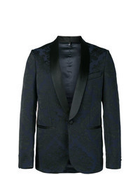 Blazer in broccato blu scuro