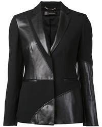 Blazer in pelle nero di Versace