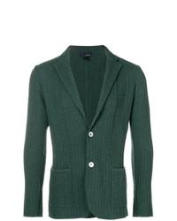 Blazer lavorato a maglia verde scuro di Lardini