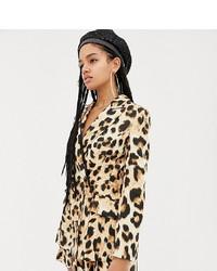 Blazer leopardato marrone chiaro di ASOS DESIGN