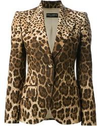 Blazer leopardato marrone chiaro di Dolce & Gabbana