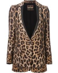 Blazer leopardato marrone chiaro di Roberto Cavalli