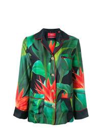 Blusa abbottonata a fiori verde scuro