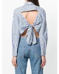 Blusa abbottonata a righe verticali bianca e blu di Current/Elliott