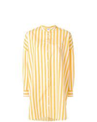 Blusa abbottonata a righe verticali gialla