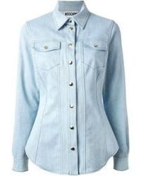 Blusa abbottonata di jeans azzurra