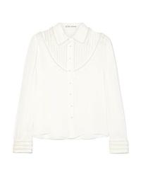 Blusa abbottonata di seta decorata bianca di Alice + Olivia