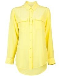 Blusa abbottonata di seta gialla