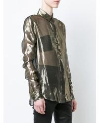 Blusa abbottonata dorata di Saint Laurent