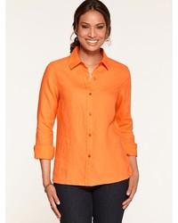 Blusa abbottonata leggera arancione