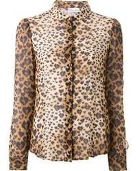 Blusa abbottonata leopardata marrone chiaro