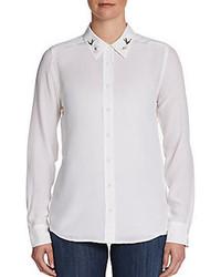 Blusa abbottonata ricamata bianca
