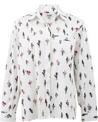 Blusa abbottonata stampata bianca