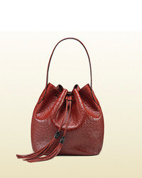 Borsa a secchiello in pelle bordeaux