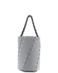 Borsa a secchiello in pelle con borchie grigia di Proenza Schouler