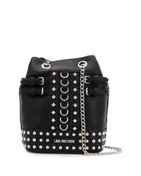 Borsa a secchiello in pelle con borchie nera di Love Moschino