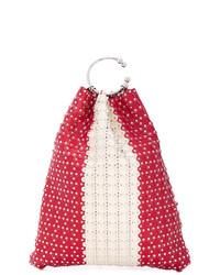 Borsa a secchiello in pelle con borchie rossa di RED Valentino