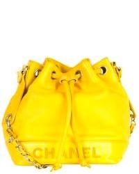 Borsa a secchiello in pelle gialla