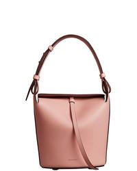 Borsa a secchiello in pelle rosa di Burberry