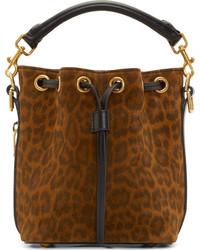 Borsa a secchiello in pelle scamosciata leopardata marrone