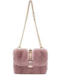 Borsa a tracolla di pelliccia rosa