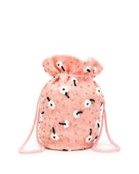Borsa a tracolla di pelliccia rosa di Ganni