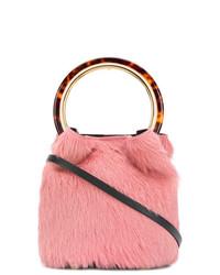 Borsa a tracolla di pelliccia rosa di Marni