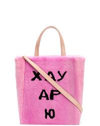 Borsa a tracolla di pelliccia rosa di Natasha Zinko