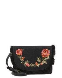 Borsa a tracolla in pelle a fiori nera di Parfois