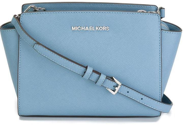 Borsa a tracolla in pelle azzurra di MICHAEL Michael Kors