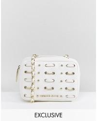 Borsa a tracolla in pelle bianca di Versace