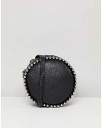 Borsa a tracolla in pelle con borchie nera di Missguided