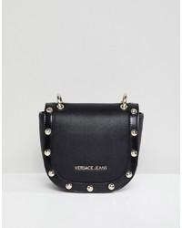 Borsa a tracolla in pelle con borchie nera di Versace Jeans