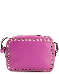Borsa a tracolla in pelle con borchie viola melanzana di Valentino Garavani